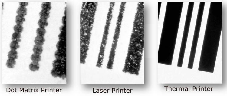 Exemplo da variação microscópica na qualidade de códigos de barras em diferentes tipos de impressoras.