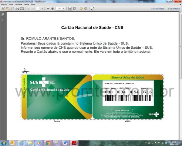 Impressão do Cartão SUS em papel - anterior à doação das impressoras Zebra GC420D