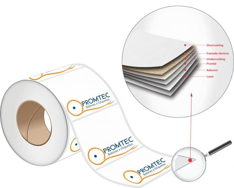 papel térmico adesivo com suas camadas