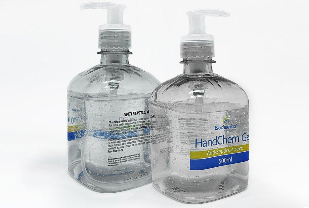 rótulo transparente álcool em gel handchem bopp promte