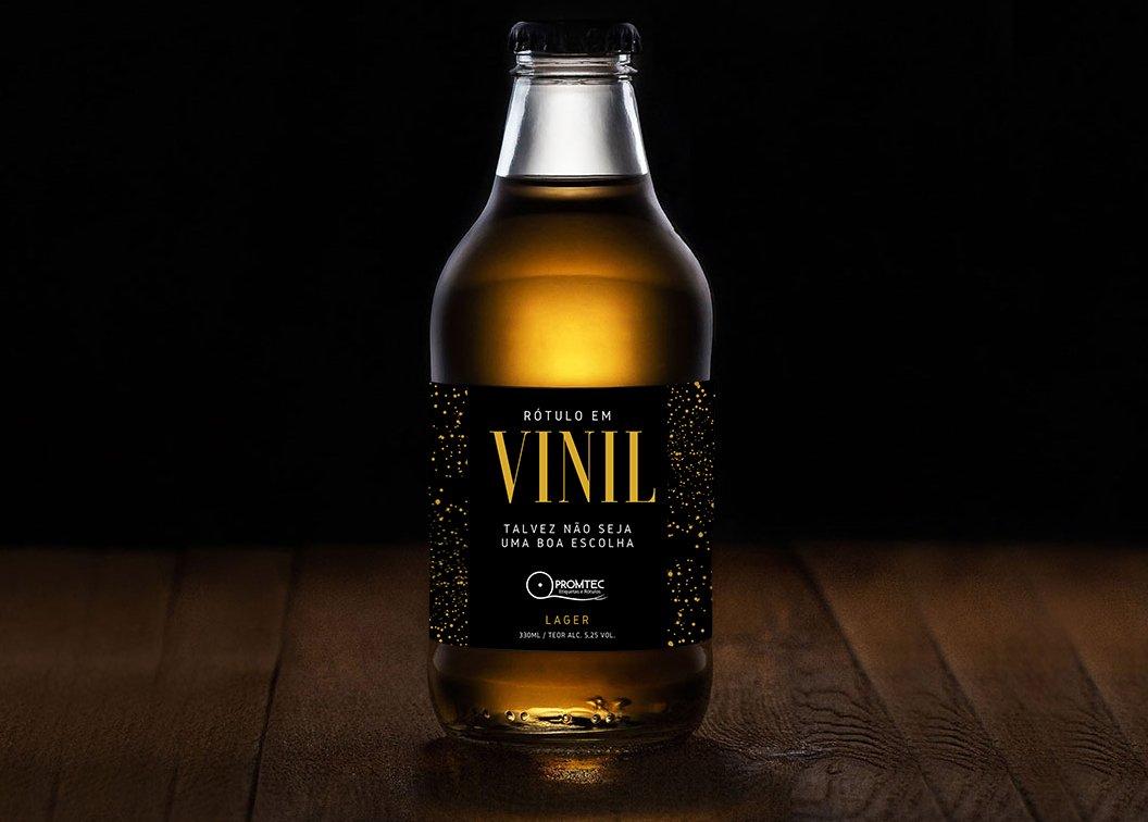 garrafa cerveja promtec com rotulo em vinil