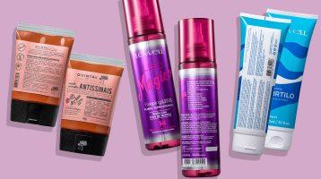 imagem com três rótulos e contrarrótulos de cosméticos e seus ingredientes